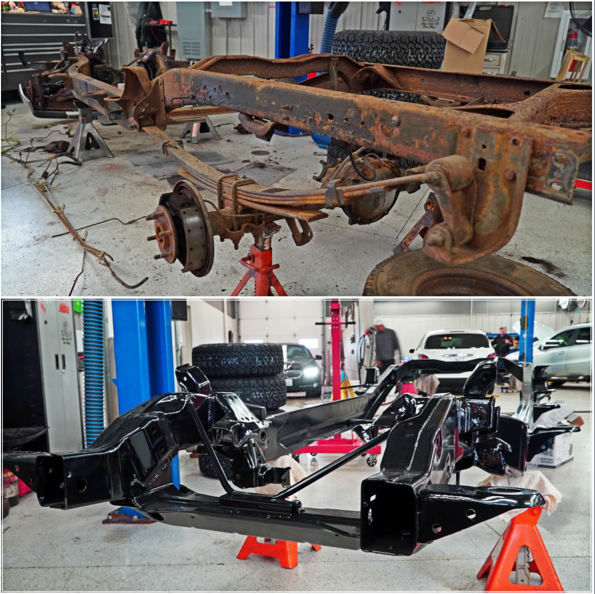 The Chassis From The 90 S Chevy Truck Restoration We Ve Been Working On Was Removed And Sent Off To Be Powder Coated Check Out Chevy Trucks Chevy Classic Cars