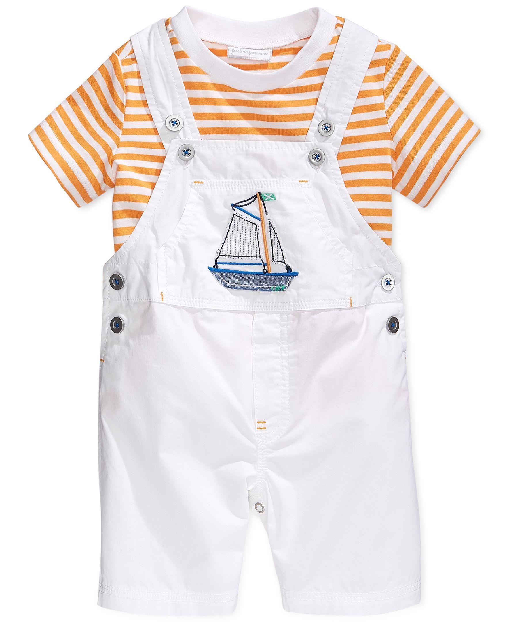 First Impressions Baby Boys' 2-Piece Tee & Shortalls Set