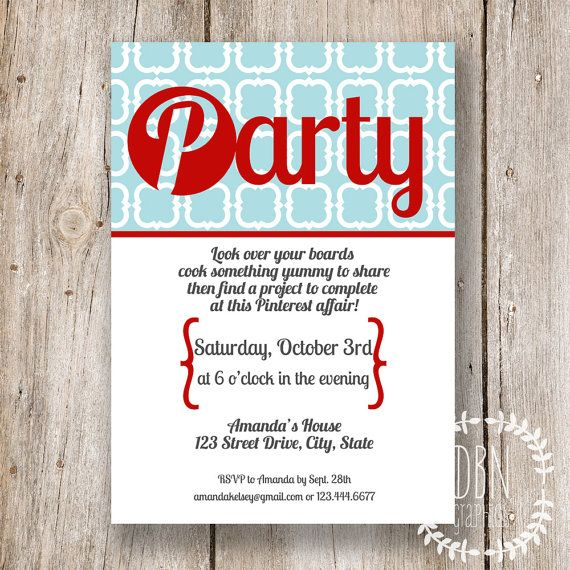 INSTANT DOWNLOAD with EDITABLE TEXT /// Pinterest Party /// 5x7 Printable Invitations /// by DBNGraphics