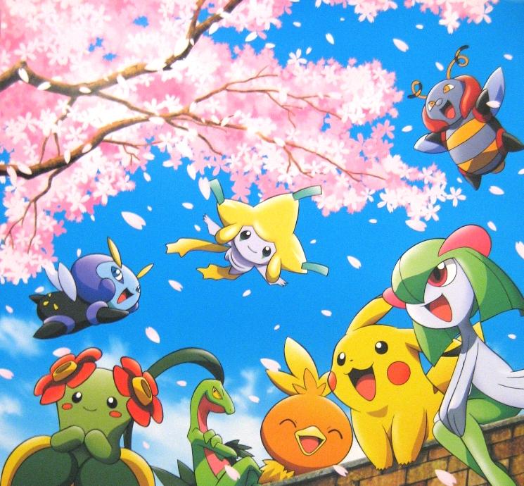 Pokemon Pikachu And Friends Cherry Blossoms Pokemon Pokemon Backgrounds Articuno Pokemon