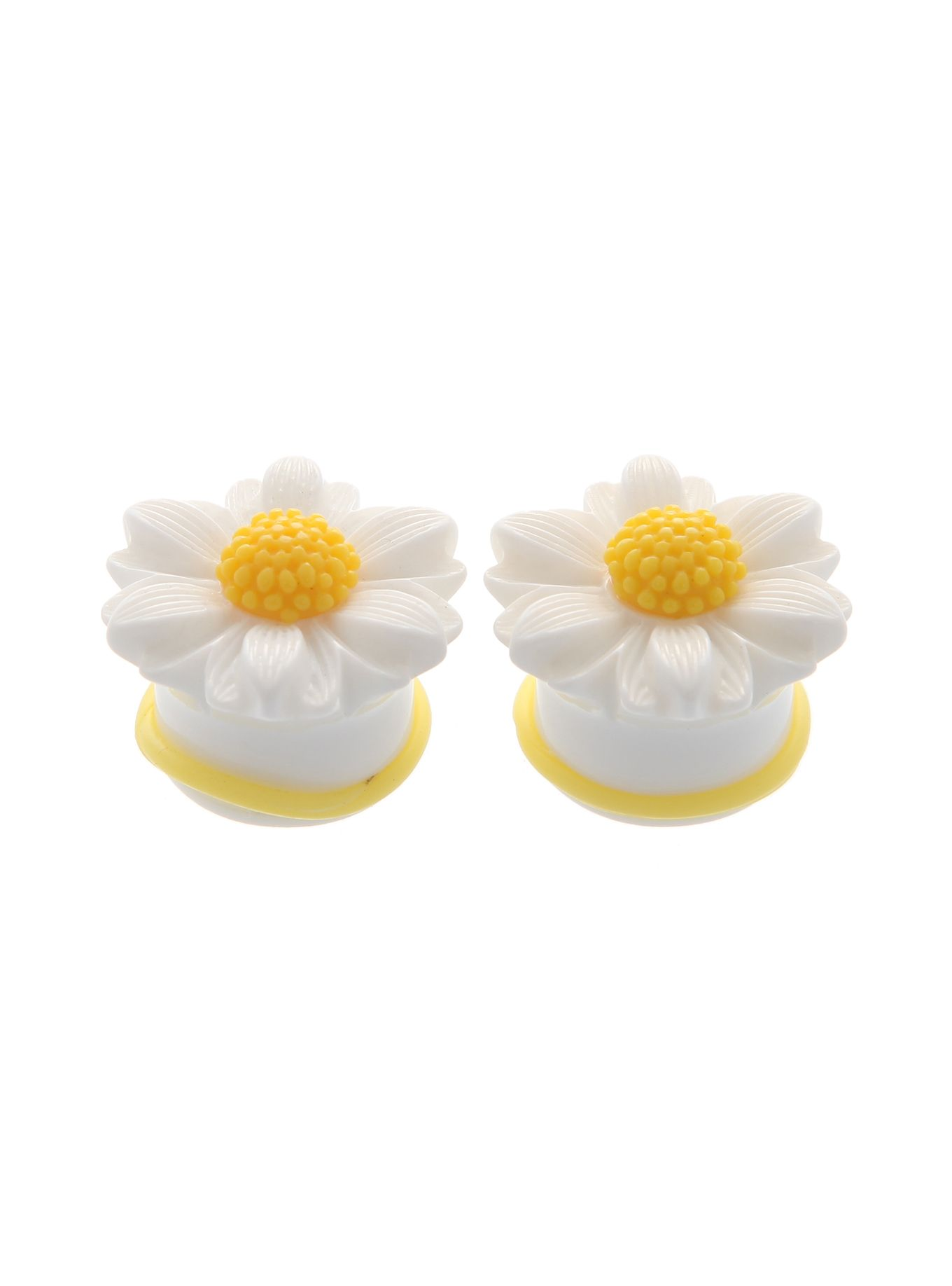 Plugs with a daisy flower design and two yellow o rings 0g plugs with a daisy flower design and two yellow o rings 0g izmirmasajfo