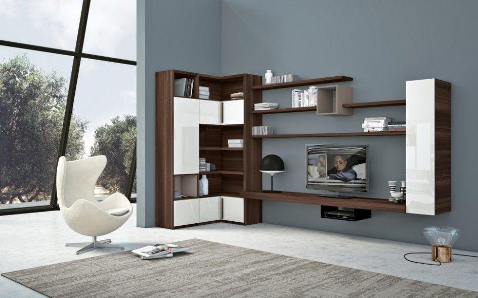 Living Room Stunning Corner Built In Bookshelves With Tv Also White