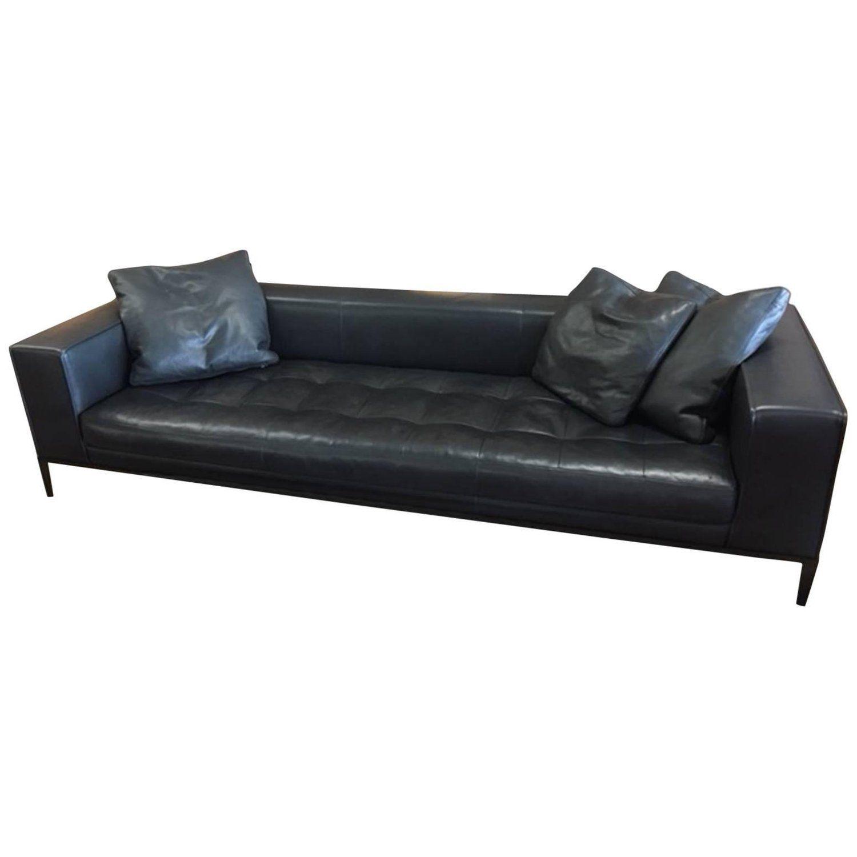 B Italia Black Leather Sofa With