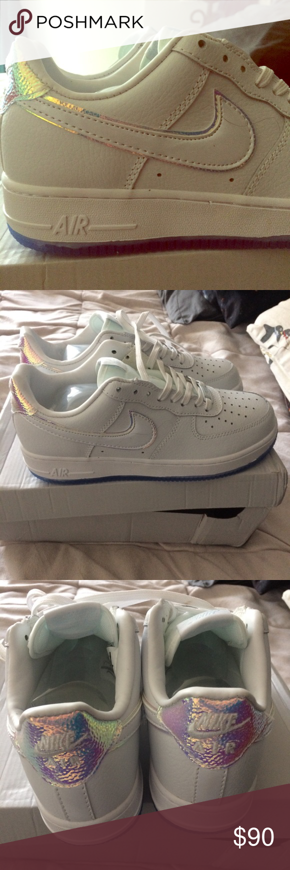 Nike Blanco Air Force 1 Iridescent Blanco Nike  Azul Nwt Pinterest Nike Air 4dbe66