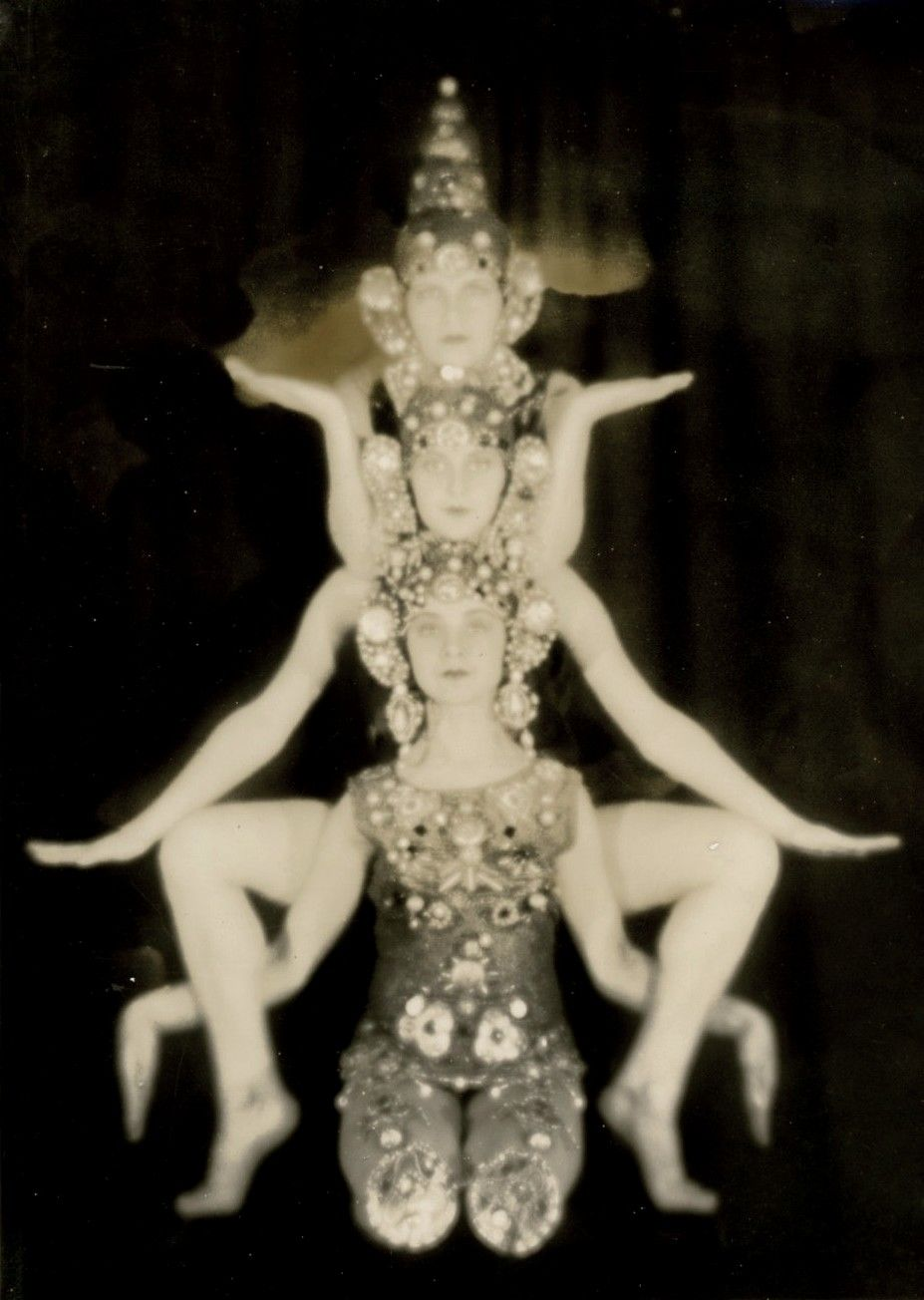 """Triple Goddess (Neopaganism), a concept in Wicca and other Neopagan belief systems: sometimes a universal, global, """"Great Goddess"""" who is threefold; sometimes a single goddess as maiden, matron and crone; and sometimes three sisters.(Photo:Folies Bergere, 1930's)"""