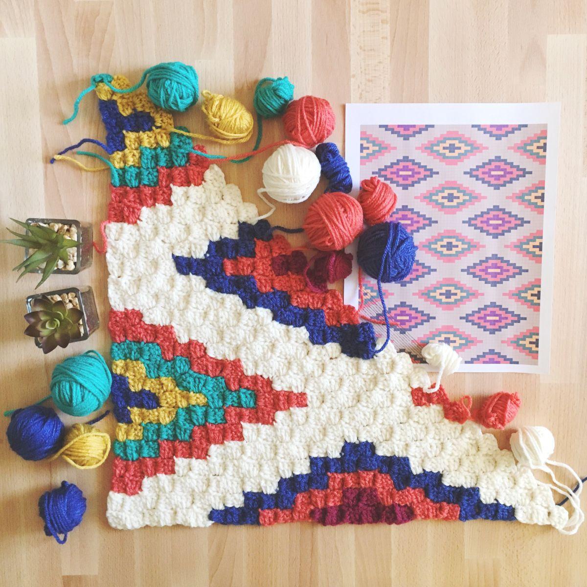 Southwestern Style Crochet Throw | Häckeln, c2c Häkeln und gehäkelte ...