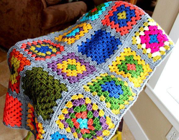 SALE Crocheted GrannY Square Afghan Lap BlanKet | mantas de crochet ...