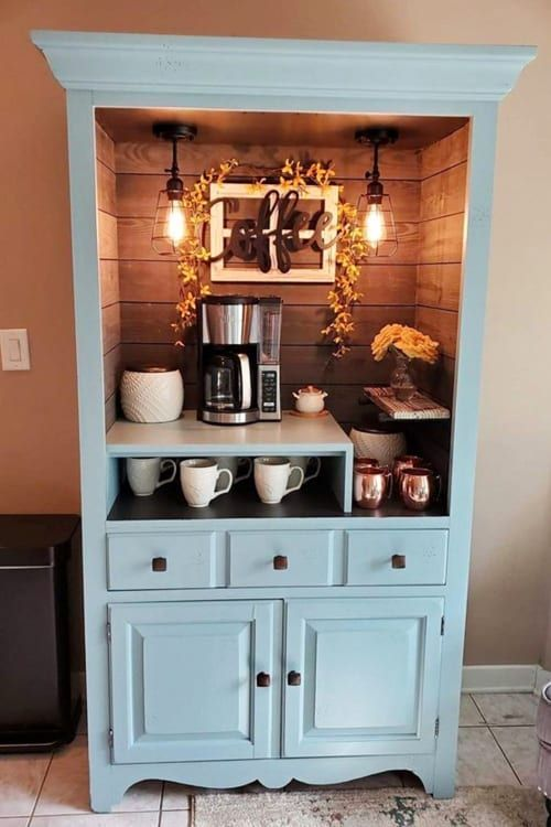 Repurposed antique dresser ideas: turn an old dresser into a coffee bar. What a beautiful old dresser makeover! See lots more repurposed furniture ideas and DIY projects to try for things to do with old chest of drawers and old dressers without drawers