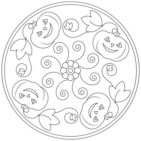 Halloween Mandala coloring page from Halloween Mandalas category ...