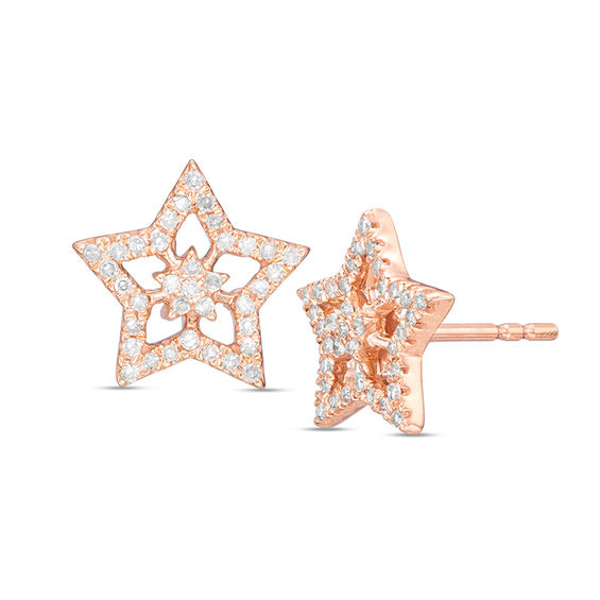 1 4 Ct T W Diamond Double Star Stud Earrings In 10k Rose Gold Mens Diamond Stud Earrings Star Earrings Black Diamond Studs