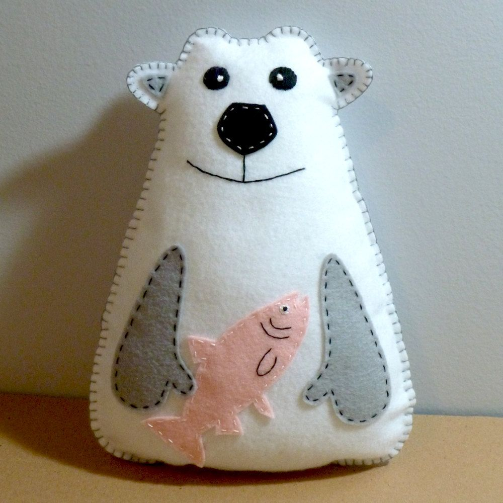 Stuffed Polar Bear PATTERN - Sew by Hand Plush Felt Stuffed Animal ...