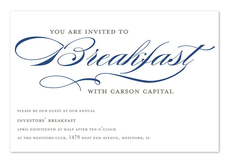 Invited To Breakfast  Corporate Invitations By Invitation