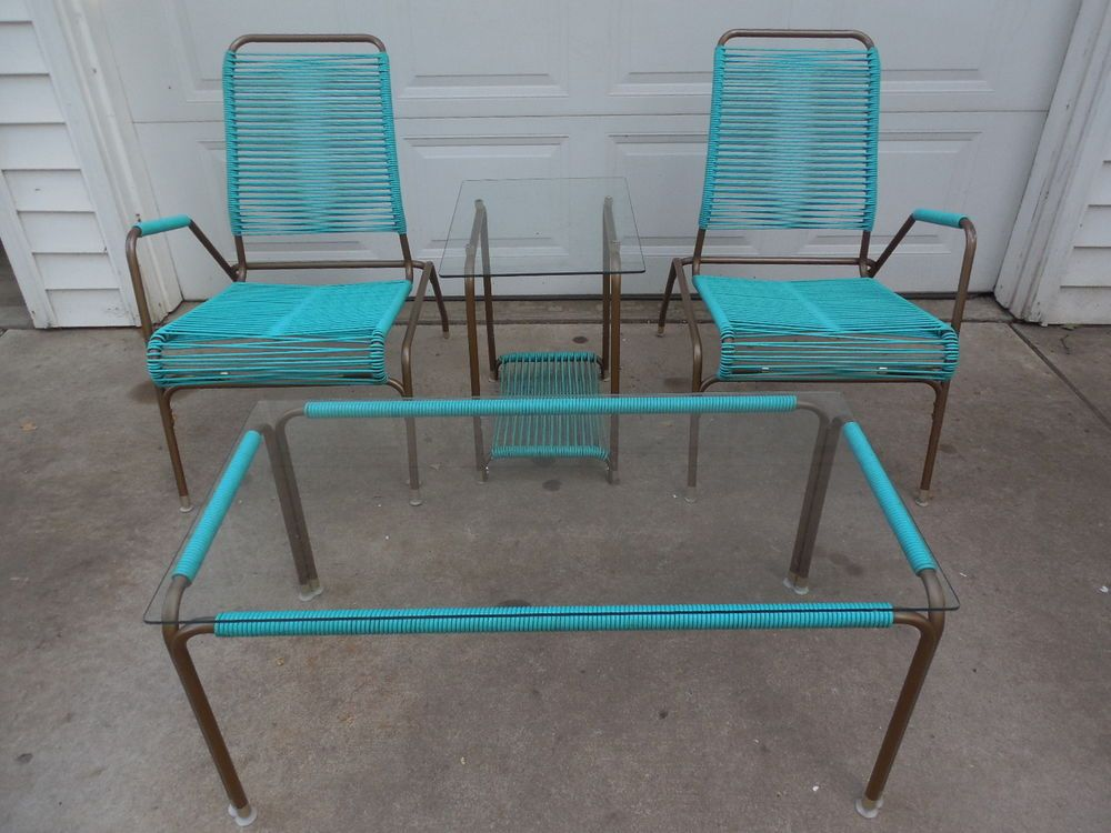 Rare Vintage Mid Century Modern AMES AIRE Patio Chair Set W 2 Matching  Tables