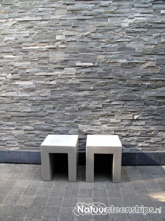 Natuursteenstrips grijs kwartsiet steenpanelen en for Steenstrips woonkamer