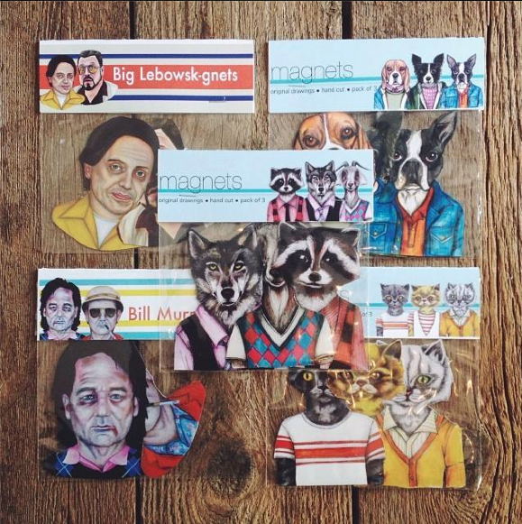 Local Designer // Andrea Hooge turns her art in to radical magnets, hand-cut and guaranteed to turn any magnetic surface 1,000,000 times cooler!