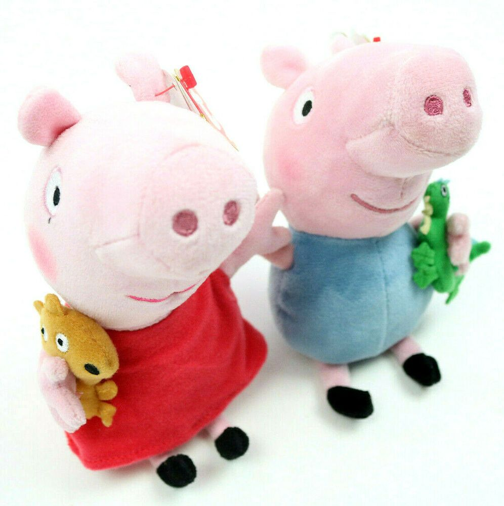 Lot Of 2 Ty Beanie Baby Peppa Pig And George Plush Stuffed Animal Ebay Plush Stuffed Animals Baby Beanie Ty Beanie [ 1000 x 996 Pixel ]