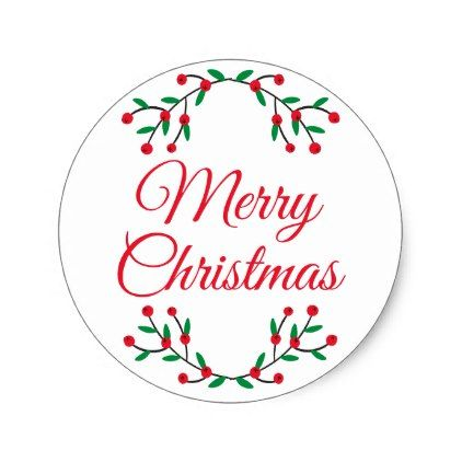 Merry christmas christmas holly classic round sticker