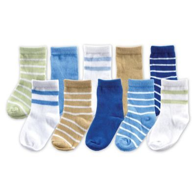 Luvable Friends Size 0 9m 10 Pack Sock Gift Set In Blue Boys Socks Baby Boy Newborn Baby Socks