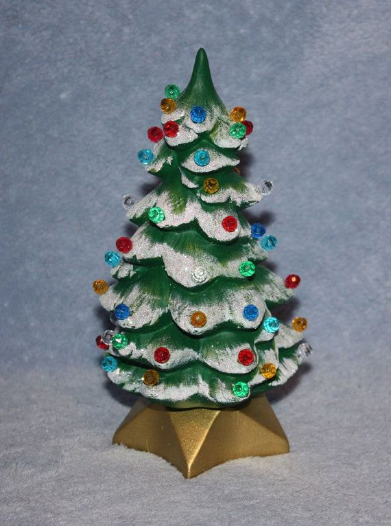 RESERVED FOR BOBBI 3 Handpainted Mini Lighted Christmas Trees