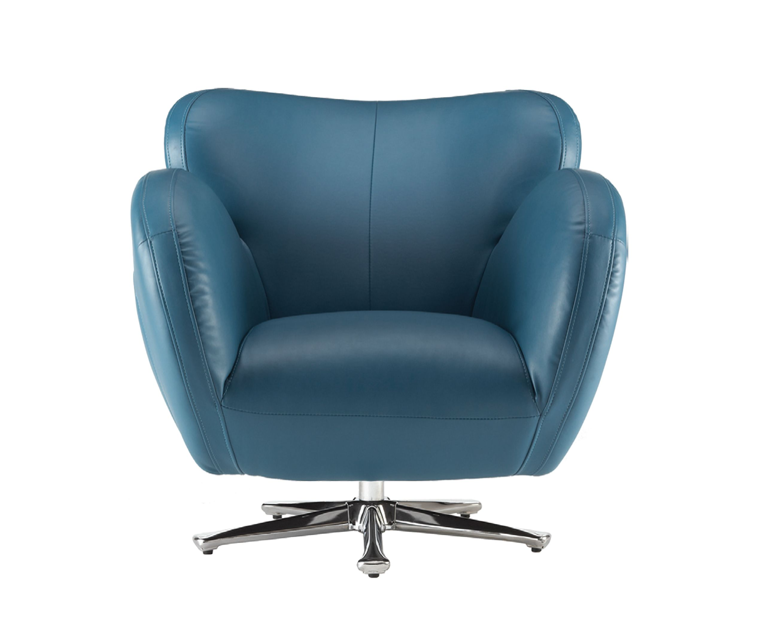 Bomba swivel chair in turquoise bonded leather