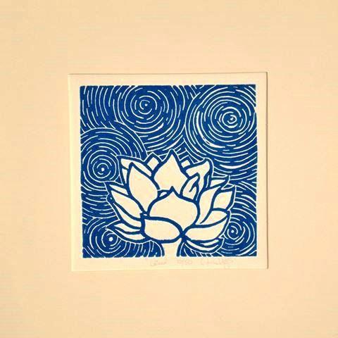 Lotus Hand Pulled Linocut Relief Print Linocut Prints