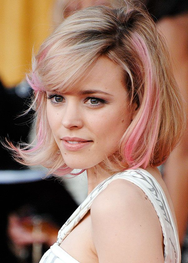 No definitely not like this highlights hair styles rachel mcadams pink bob from pink hair looks chic on her pmusecretfo Gallery