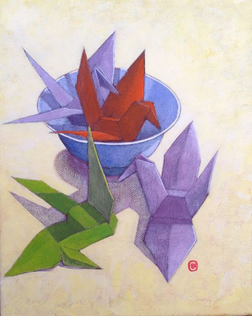 Painting of Four Origami Cranes by Carole of origa-me blog