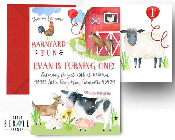 Farm Invitation Farm Birthday Invitation Farm Animals Invitation