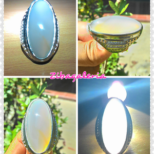 Batu Anggur Milky White Super Big | CN0051 | Ring Alpaka Size 8