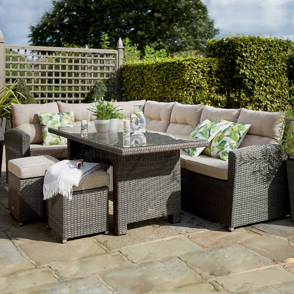 Canterbury Casual Dining Rattan Garden Furniture Set Left Hand Configuration Rattan Garden Furniture Rattan Garden Furniture Sets Garden Furniture Sets