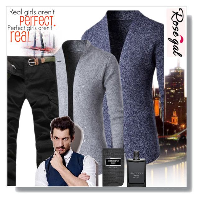 """""""Man clothes,Rosegal 6."""" by nudzi-ded ❤ liked on Polyvore featuring Jimmy Choo, men's fashion and menswear"""