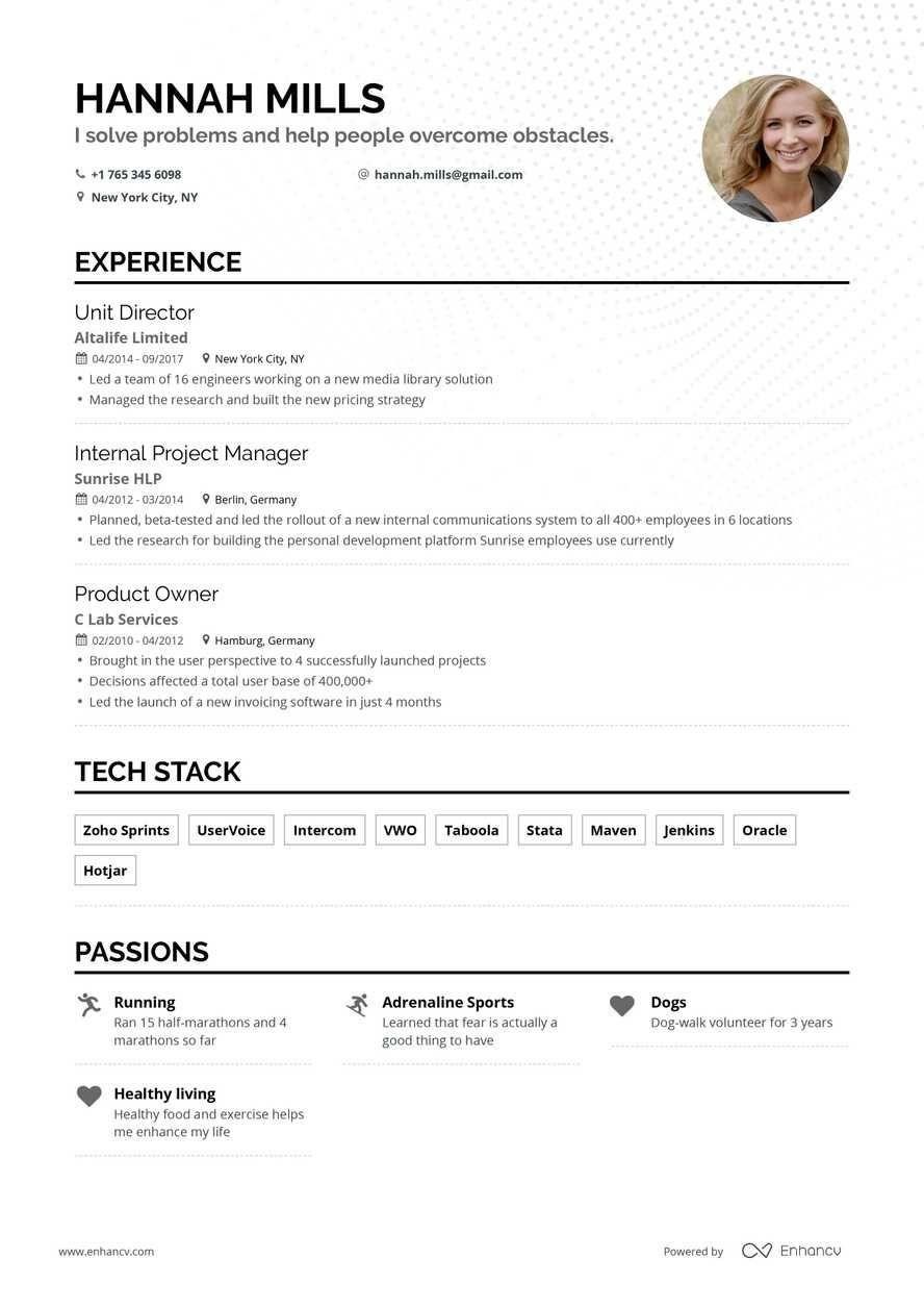 Free Resume Builder Online Resume Builder Enhancv Com Online