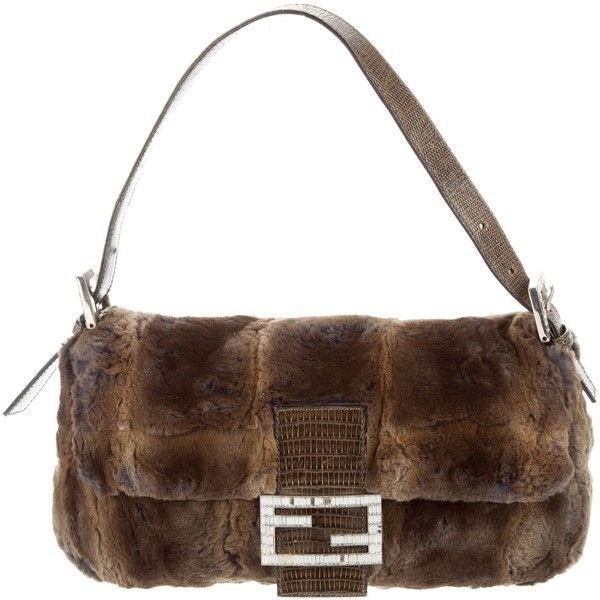 90774467dedf Pre-owned Fendi Lizard-Trimmed Fur Baguette ( 395) ❤ liked on Polyvore  featuring bags