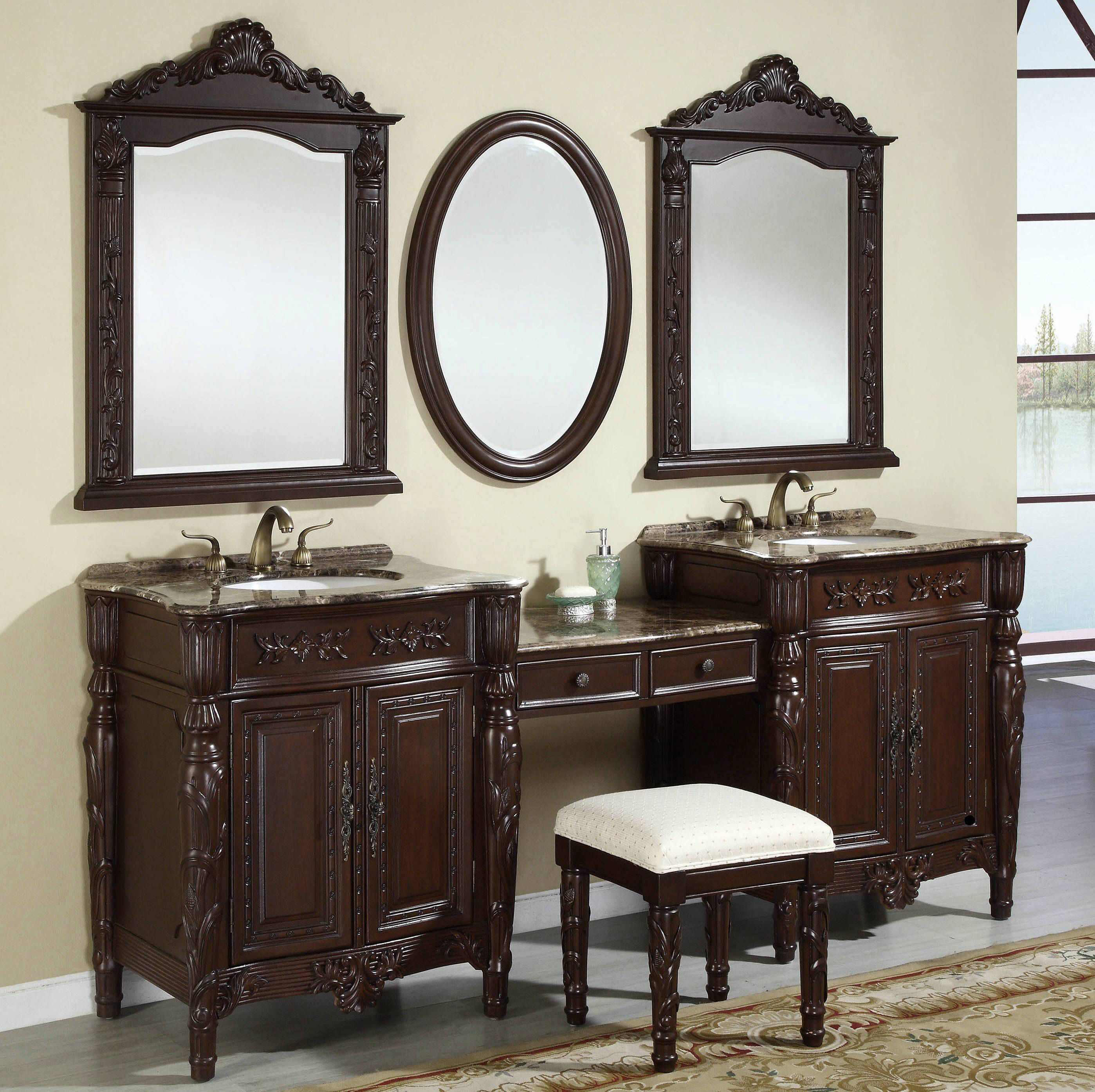 Classic Elegant Bathroom Flowers Roses Pearls: Bathroom Vanities : Classic Wood Vanity Stools For Elegant