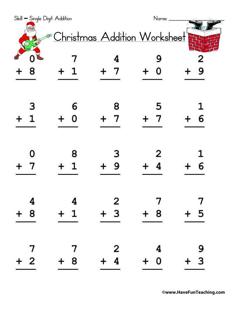 Single Digit Addition Addition Worksheets Christmas Addition Christmas Math Worksheets