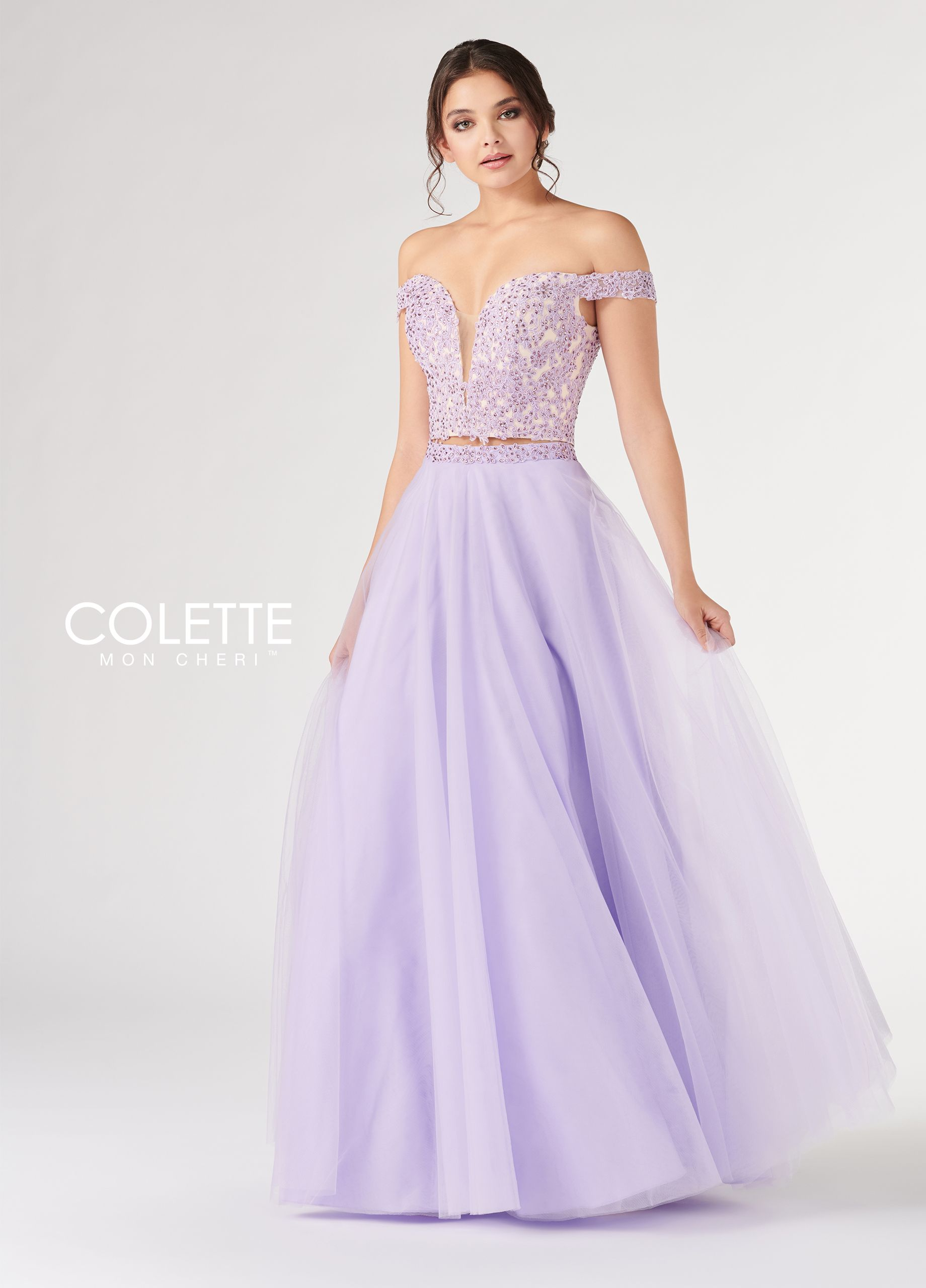 ab5d9ab7790b Colette for Mon Cheri CL19885 - Two piece ballgown dress set with lace and  beaded off the shoulder bodice, sheer inset sweetheart neckline, lace up  back, ...