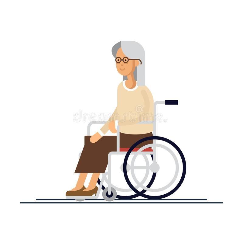 Persona Mayor Abuela En Una Silla De Ruedas Ejemplo Del Vector En Un Estilo Plano Mujer Discapacitada Mayor Silla De Ruedas Personas Mayores Ruedas