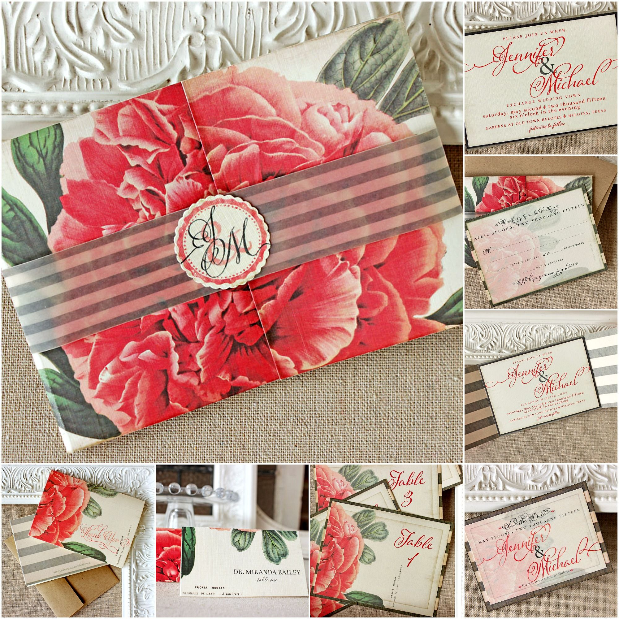 Vintage Peony Wedding Stationery Collection | Sunshine and Ravioli ...