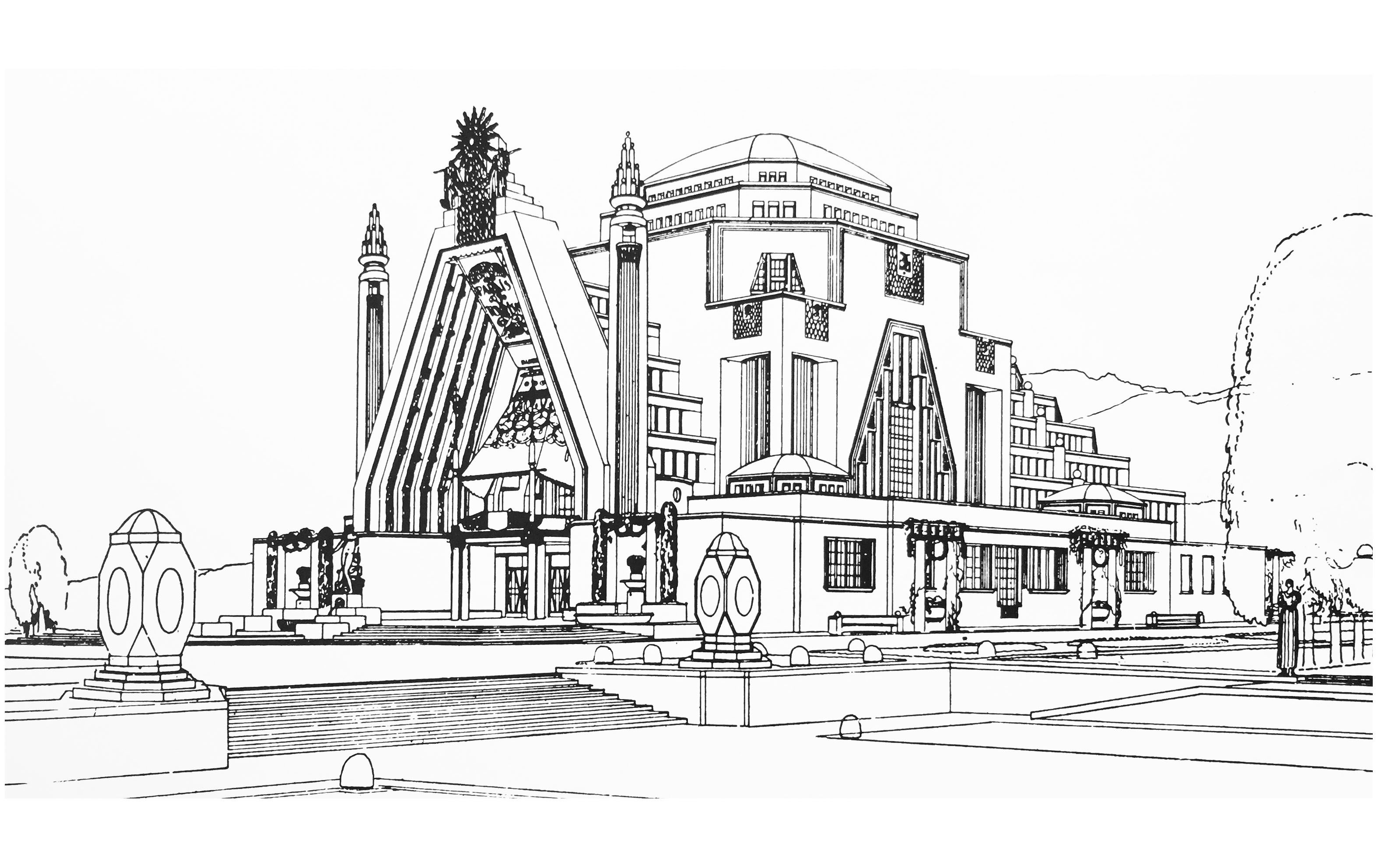 Free coloring page coloring-adult-drawing-monument-art