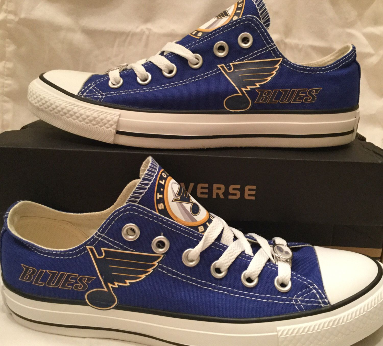 5f678e9dc36e St. Louis Blues Custom Made Converse Chuck Taylor Sneakers NHL by  PimpMyKickz on Etsy https