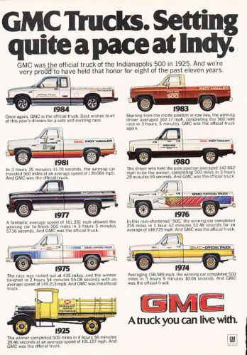 1984 Gmc Trucks Indy Pace Gmc Trucks Chevy Trucks Gm Trucks