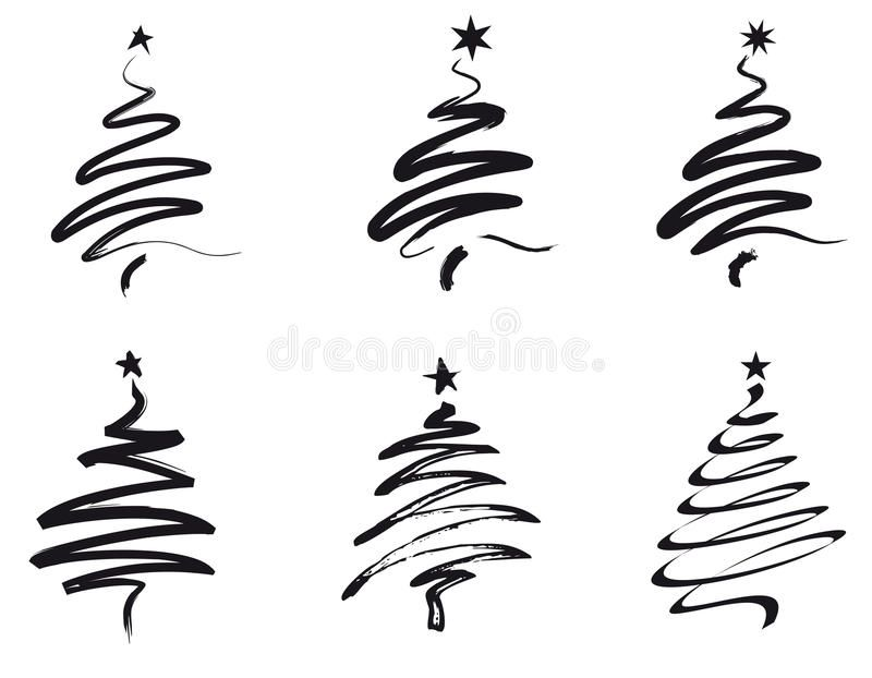 Christmas Trees Line Illustration Royalty Free Illustration Tree Line Drawing Christmas Tree Painting Christmas Calligraphy