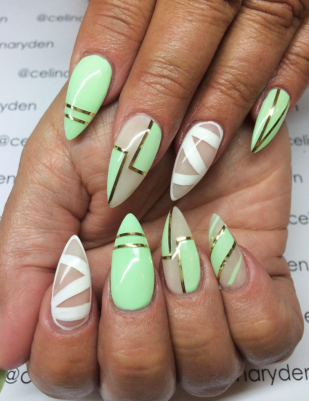 Green Art Deco Nails Nail Pinterest Nagel Pastel Nagels En