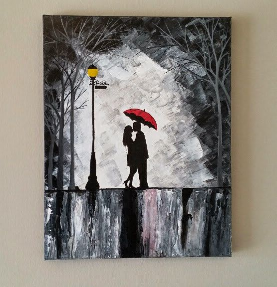 Original Couple In Rain Painting, Couple Kissing In The