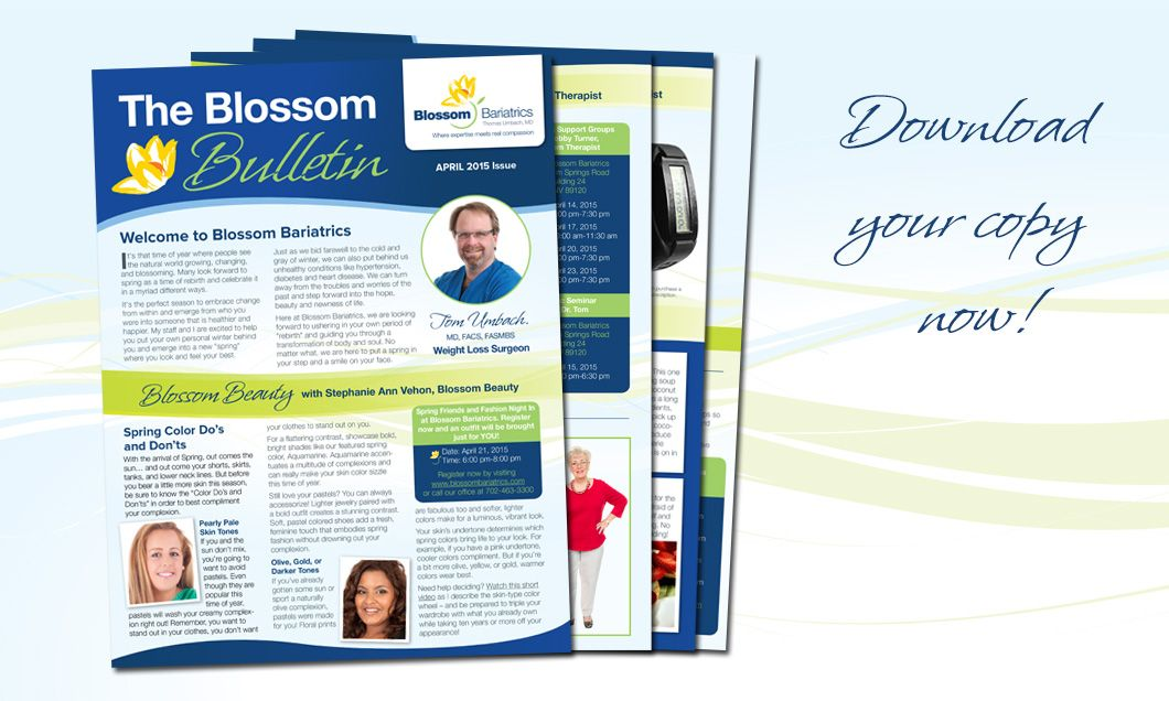 Our April issue of the Blossom Bulletin is ready with tons of great tips and inspiring stories. Get connected with Dr Tom and the rest of the Blossom community. Click through and download your copy today! http://blossombariatrics.com/blossom-bulletin-april-issue/ #weightloss #healthyliving #beforeandafter