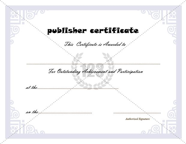 Best Publisher Certificate Template  Certificate Templates