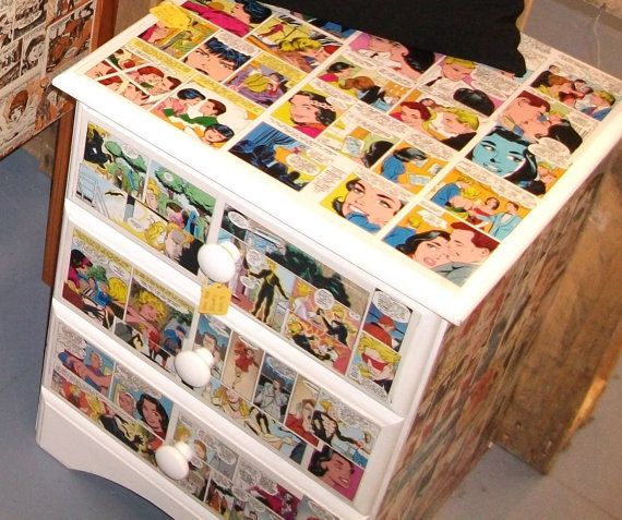 Book Furniture: Up-Cycled Decoupage Custom Made Comic Book Furniture