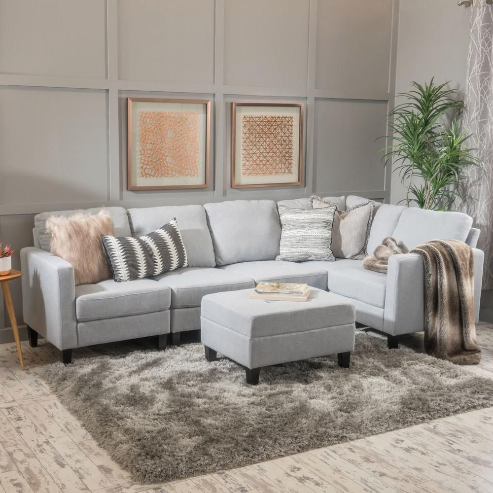 Noble House 6 Piece Light Gray Fabric Sectional And Ottoman Set