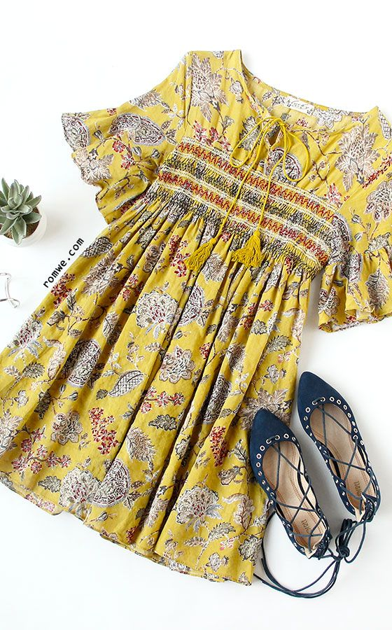 Yellow Ruffle Sleeve Florals Lace Up Dress