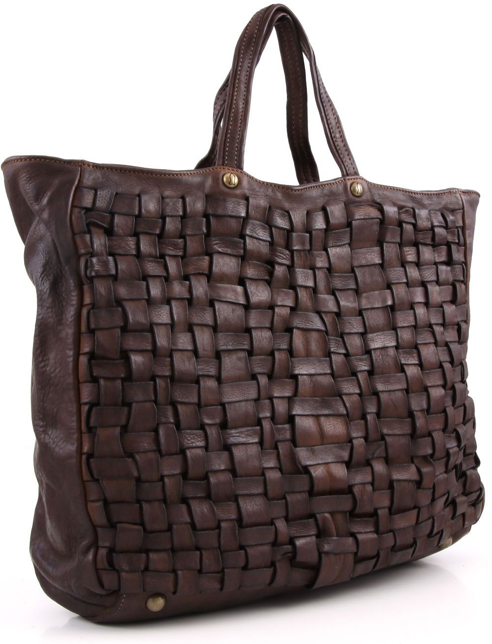 Campomaggi Lavata Satchel Leather dark-brown 37 cm - C1303BISVL-1701 - Designer Bags Shop - wardow.com